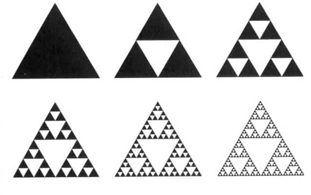 Six images showing the stages of formation of a Sierpinski triangle