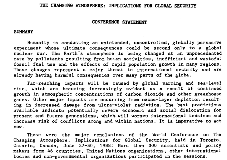 An excerpt from the Conference Statement of the 1988 World Conference on the Changing Atmosphere held in Toronto